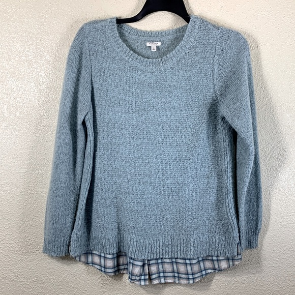 Sonoma Top Blouse Sweater Blue Layered Look L Soft